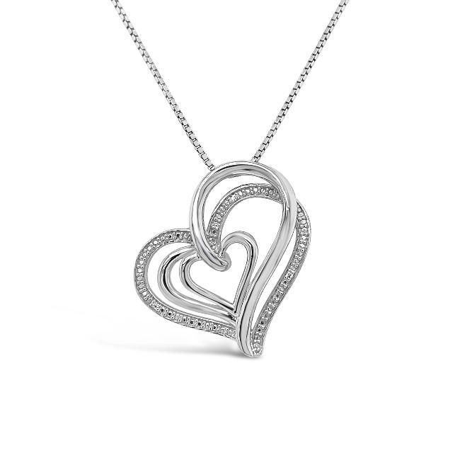 1/5 Carat Diamond Interlocking Heart Pendant in Sterling Silver - 18""