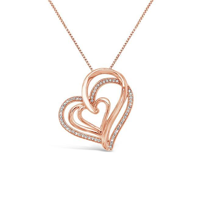 1/5 Carat Diamond Interlocking Heart Pendant in Rose Gold-Plated Sterling Silver - 18""