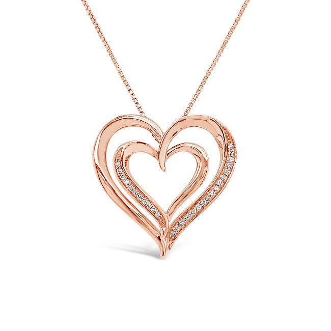 0.08 Carat Diamond Heart Pendant in Rose Gold-Plated Sterling Silver - 18""