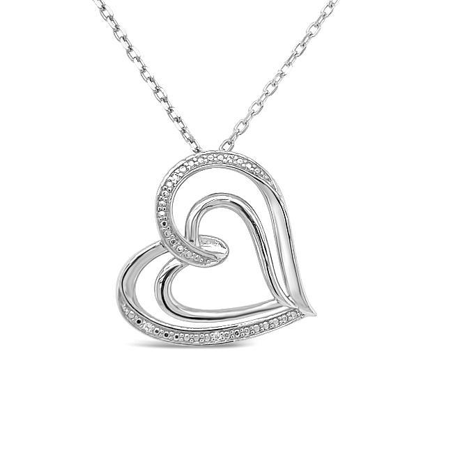 1/8 Carat Diamond Heart Pendant in Sterling Silver - 18""