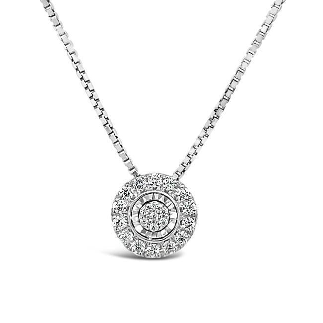 1/6 Carat Diamond Cluster Halo Pendant in Sterling Silver - 18""