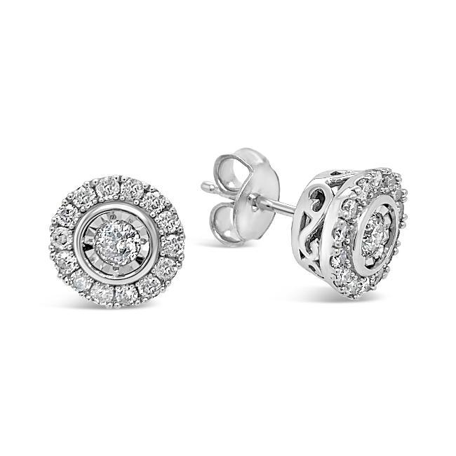 1/2 Carat Diamond Halo Earrings in 14K White Gold