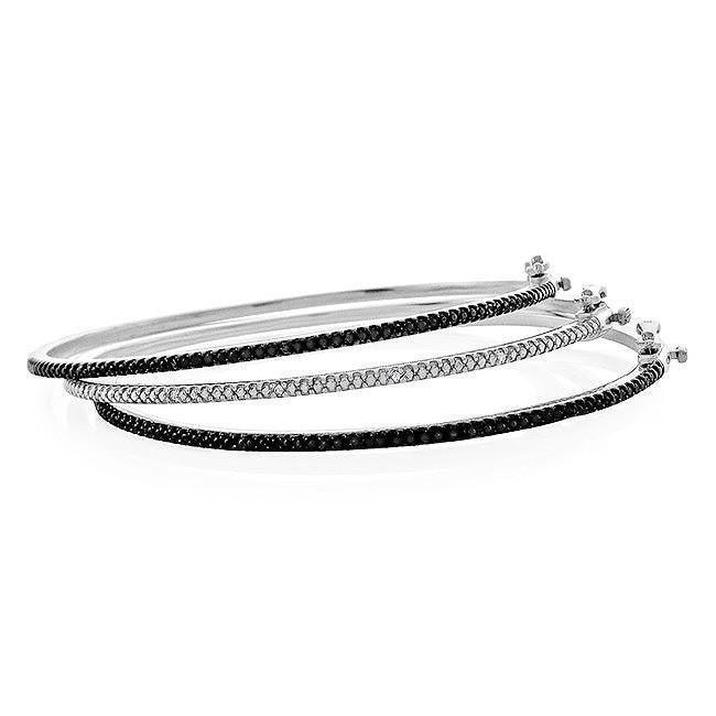 0.12 Carat Set of 3 Black and White Diamond Bangles in Sterling Silver