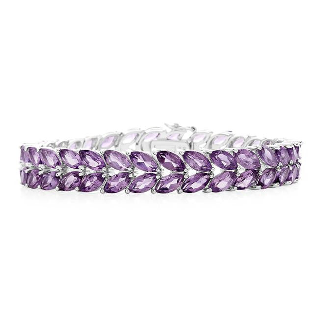 32.85 Carat Genuine Amethyst Bracelet in Sterling Silver