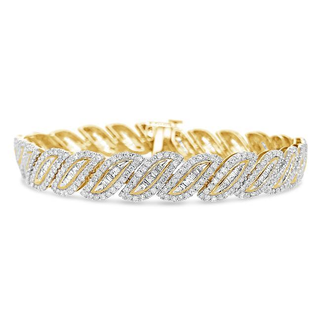 5.00 Carat Diamond Bracelet in 10K Yellow Gold - 7.5""