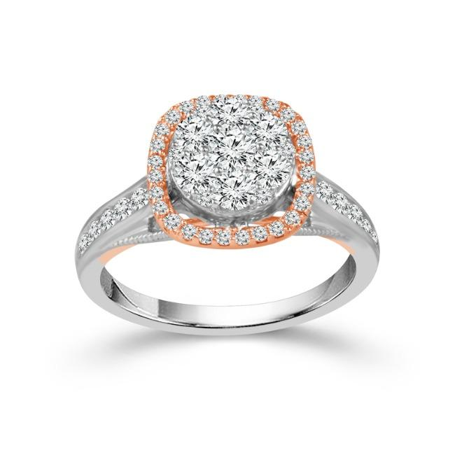 1.00 Carat Diamond Engagement Ring in Two-Tone 10K (G-H,I1-I2)