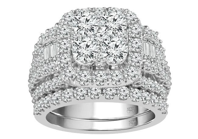 4.00 Carat Diamond Bridal Set in 14K White Gold (G-H/I1)