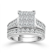 Load image into Gallery viewer, 3.00 Carat Princess Cut Quad Diamond Bridal Set in 14K White Gold (G-H,I1-I2)