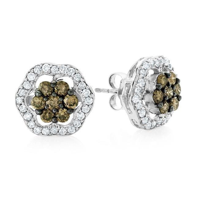 1.25 Carat Champagne & White Diamond Stud Earrings in Sterling Silver