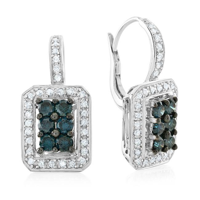 1.50 Carat Blue & White Diamond Earrings in Sterling Silver