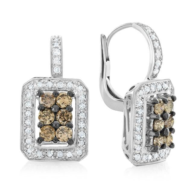 1.50 Carat Champagne & White Diamond Earrings in Sterling Silver