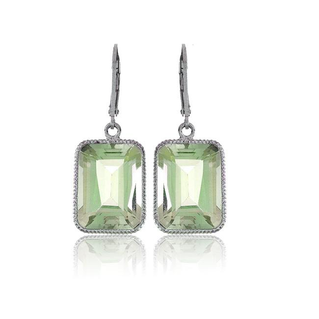 7.00 Carat Chateau Montreal Genuine Green Amethyst Earrings in Sterling Silver