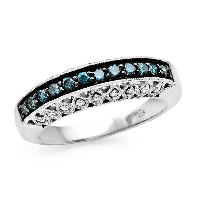 0.55 Carat Blue & White Diamond Band in Sterling Silver