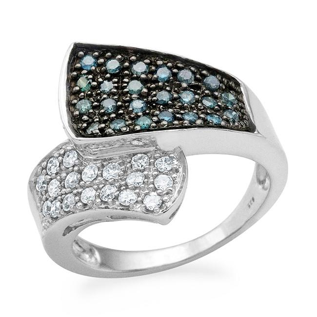 0.75 Carat Blue & White Diamond Ring in Sterling Silver