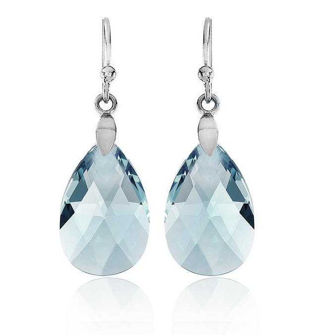 Swarovski Crystal Teardrop Earrings in Sterling Silver