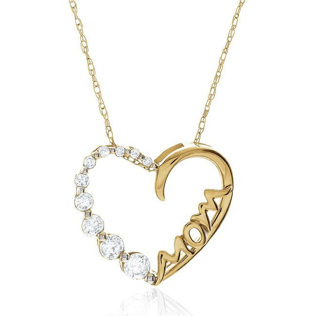 0.33 Carat Diamond 'Mom' Heart Pendant in 10K Yellow Gold with Chain