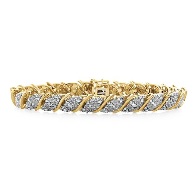 Gold Over Sterling Silver 1.00 Carat Diamond Bracelet-  Size 7.25""