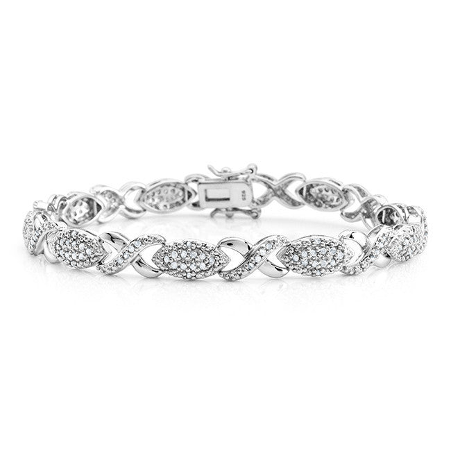 1.00 Carat Diamond Hugs & Kisses Bracelet in Sterling Silver - 7.5""
