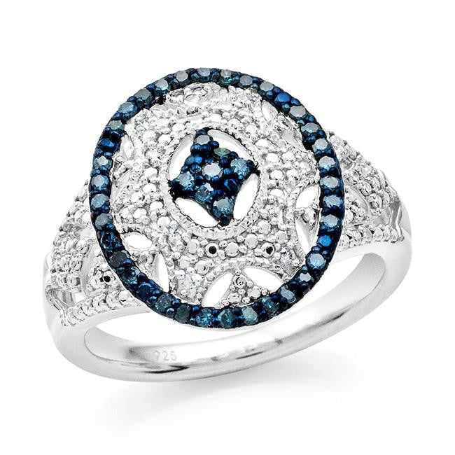 0.25 Carat Blue & White Diamond Ring in Sterling Silver