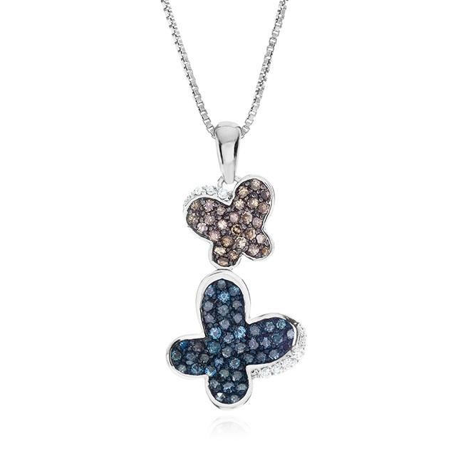 0.75 Carat Blue & Champagne Diamond Pendant in Sterling Silver with Chain