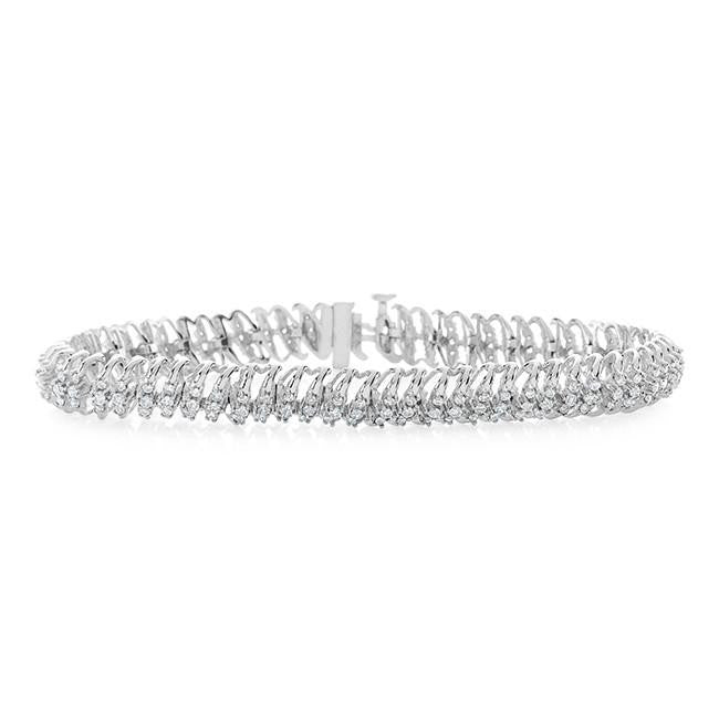 2 cttw Diamond, 10k White Gold Tennis Bracelet