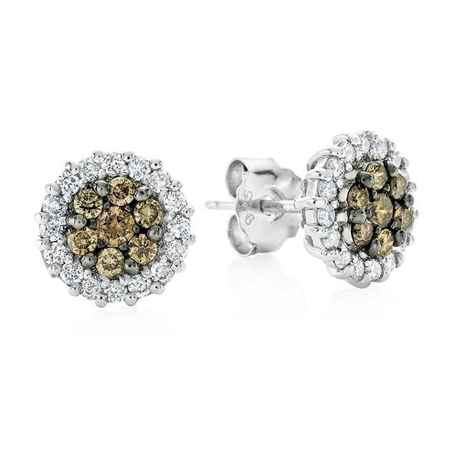 0.75 Carat Champagne & White Diamond Stud Earrings in Sterling Silver