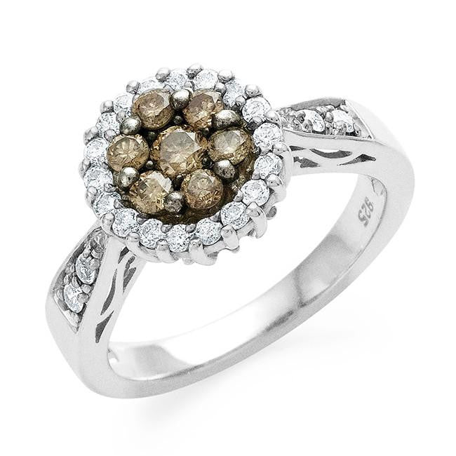 0.75 Carat Champagne & White Diamond Ring in Sterling Silver