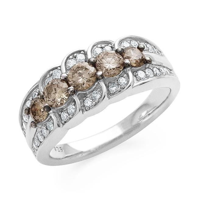 1.00 Carat Champagne & White Diamond Ring in Sterling Silver