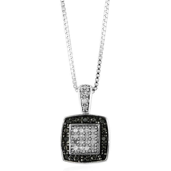 0.25 Carat Black & White Diamond Pendant in Sterling Silver with Chain