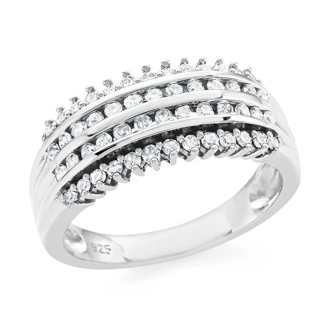 0.50 Carat Diamond Anniversary Band in Sterling Silver