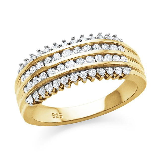 0.50 Carat Diamond Band in Yellow Gold-Plated Sterling Silver