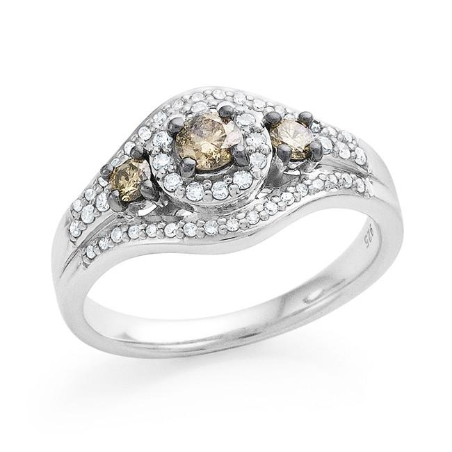 0.50 Carat Champagne & White Diamond Ring in Sterling Silver