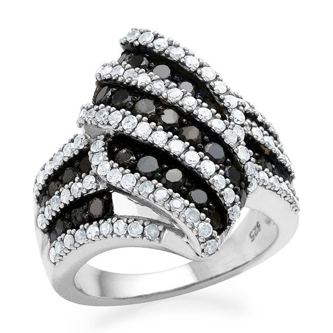 2.00 Carat Black & White Diamond Ring in Sterling Silver