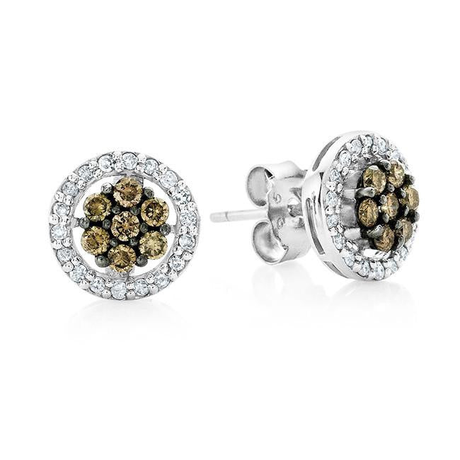 0.50 Carat Champagne & White Diamond Stud Earrings in Sterling Silver