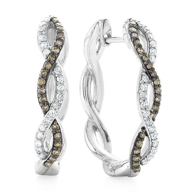 0.50 Carat Champagne & White Diamond Hoop Earrings in Sterling Silver
