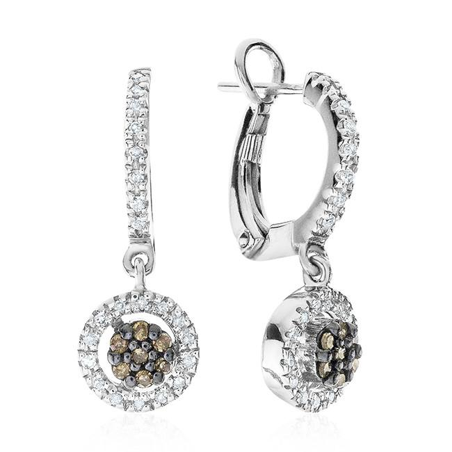 0.20 Carat Champagne & White Diamond Earrings in Sterling Silver