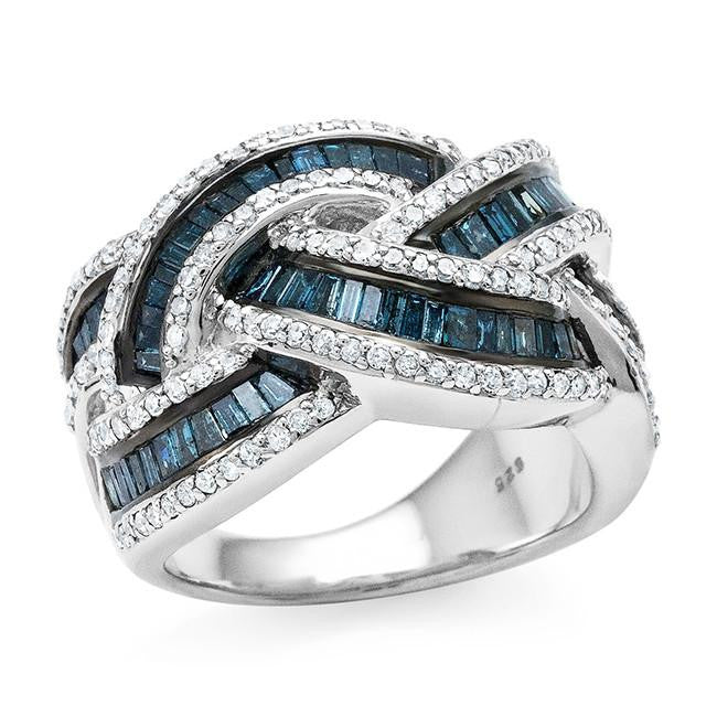 1.50 Carat Blue & White Diamond Criss Cross Ring in Sterling Silver