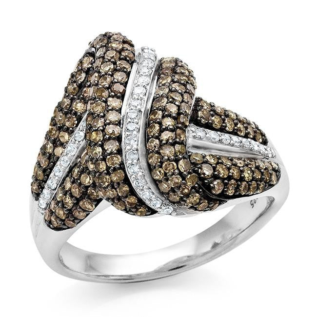 1.00 Carat Champagne & White Diamond Swirl Ring in Sterling Silver