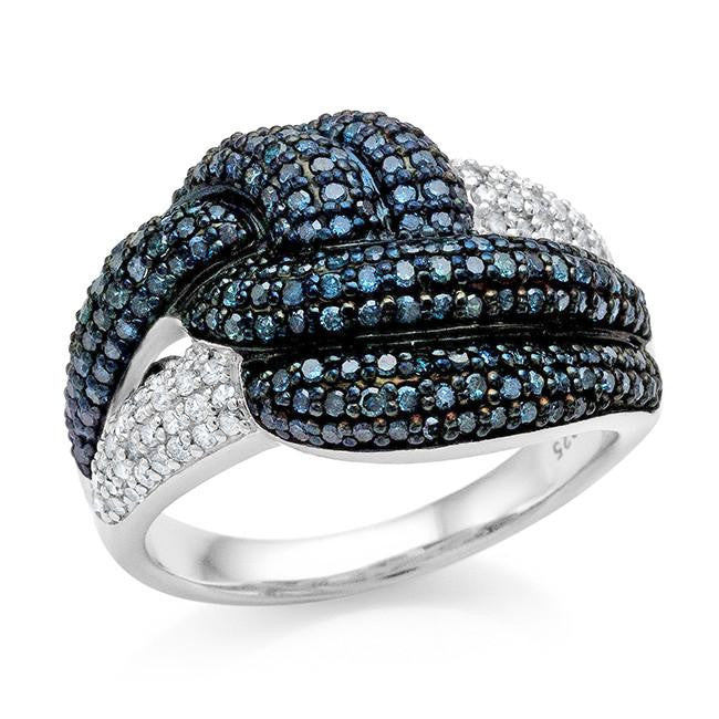 1.00 Carat Blue & White Diamond Knot Ring in Sterling Silver