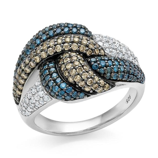 1.00 Carat Champagne, Blue & White Diamond Knot Ring in Sterling Silver