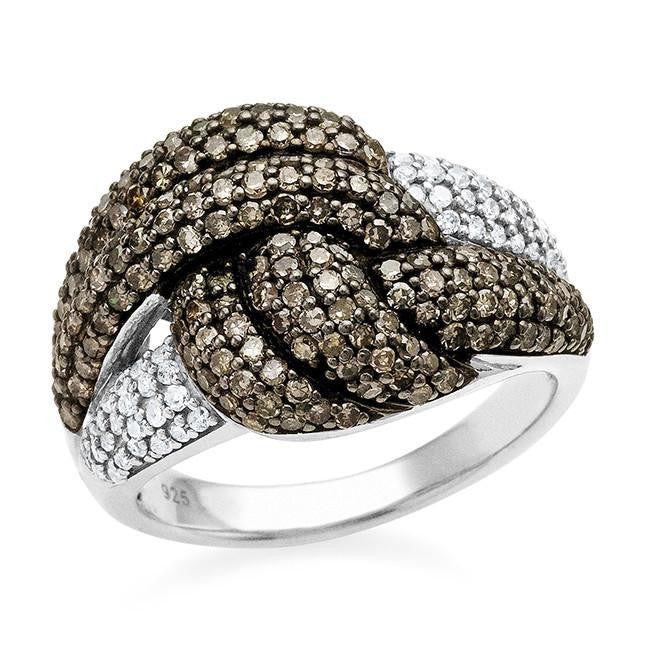 1.00 Carat Champagne & White Diamond Knot Ring in Sterling Silver