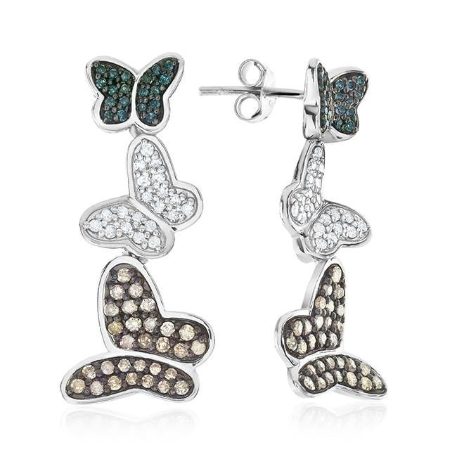 1.00 Carat Blue, Champagne & White Diamond Butterfly Earrings in Sterling Silver