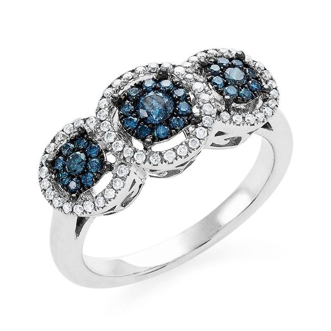 0.50 Carat Blue & White Diamond Ring in 10k White Gold