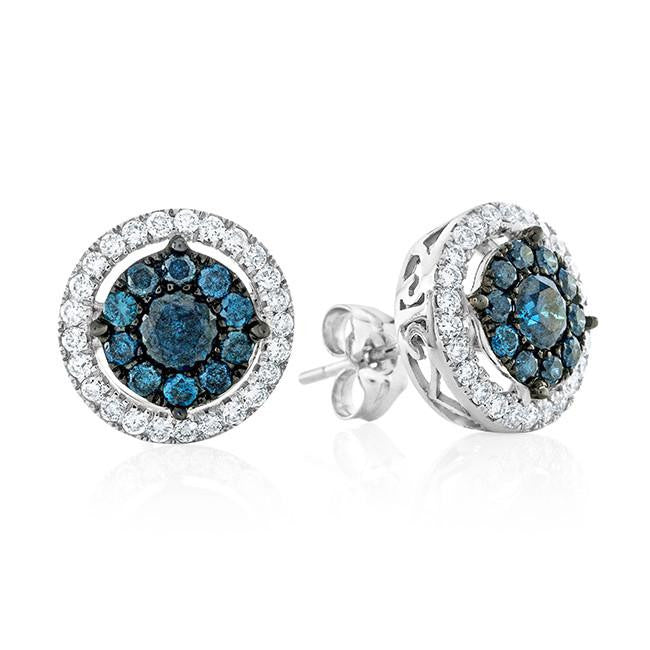 1.10 Carat Blue & White Diamond Stud Earrings in 10k White Gold
