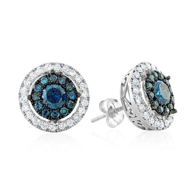 1.50 Carat Blue & White Diamond Stud Earrings in 10k White Gold