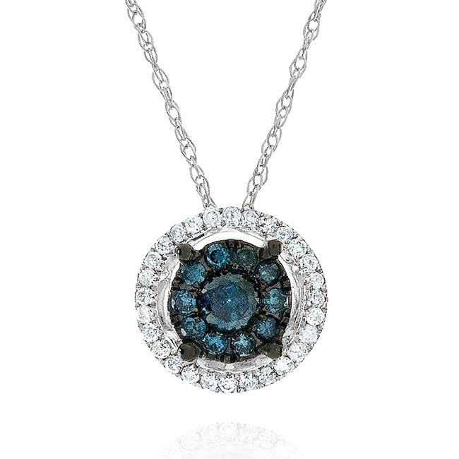 0.25 Carat Blue & White Diamond Pendant in 10k White Gold with Chain