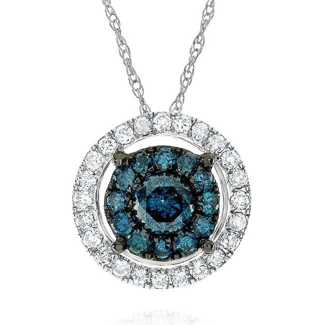 0.50 Carat Blue & White Diamond Pendant in 10k White Gold with Chain