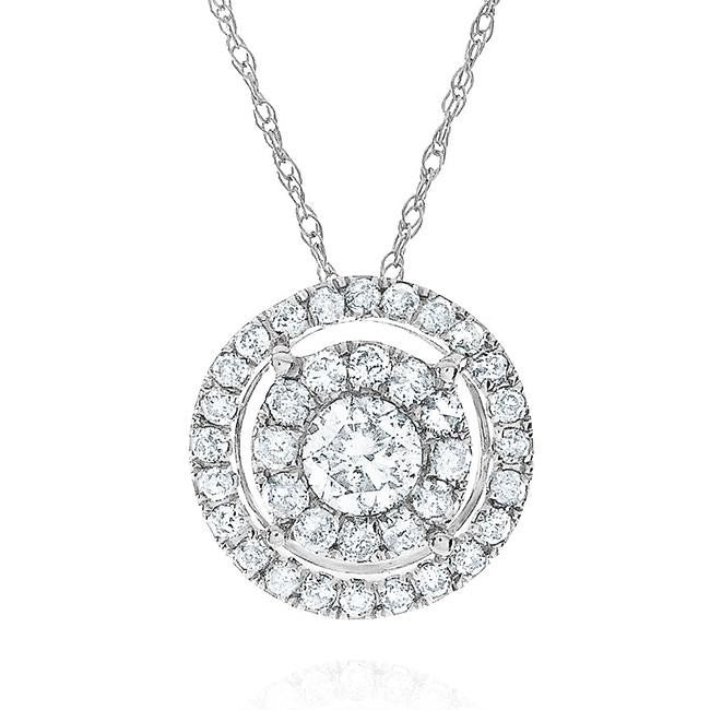 0.50 Carat Diamond Pendant in 10k White Gold with Chain