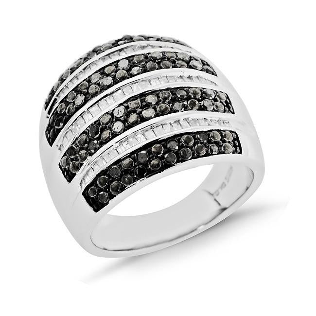 1.00 Carat Black & White Diamond Ring in Sterling Silver