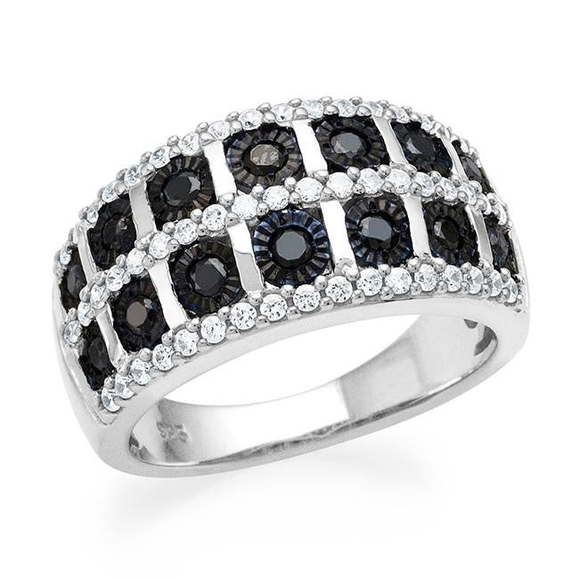 0.80 Carat Black & White Diamond Ring in Sterling Silver